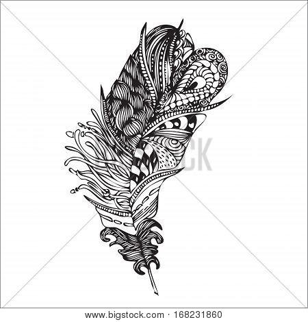 Ethnic Feather On A White Background. Vintage Artistically Hand