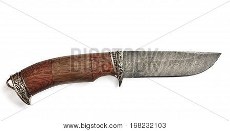 Hunting knife damask steel with wooden handle decorated with metal ornaments - russian cold arms isolated on a white background.
