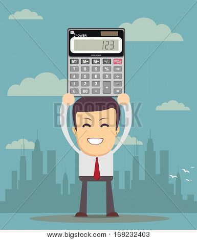Cartoon businessman or accountant is showing an electronic desktop calculator with copy space on display. Use as business presentation, financial report or advertisement design