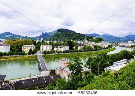 Salzach River in Salzburg Austria. Famous place Unesco Heritage Festung Hohensalzburg Salzburger Land Austria Europe