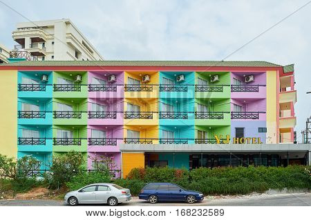 PATTAYA, THAILAND - CIRCA FEBRUARY, 2016: colourful building in Pattaya at daytime. Pattaya is a resort city in Thailand.