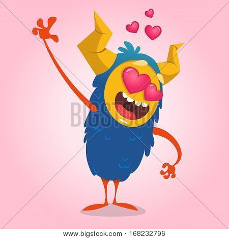 Cartoon blue horned monster in love waving. Saint Valentine monster. Vector Illustration Of Loving Monster And Hearts. Invitation card for party