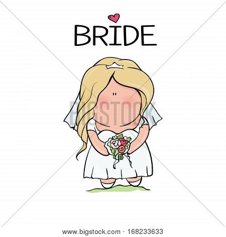 bridal shower. cute girl in wedding dress hending flowers. print on t-shirt. Bachelorette party. heart. banner or sticker. isoleted illustration