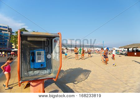 NESSEBAR BULGARIA - AUG 28: the pay phone at the public beach in Nessebar Bulgaria at August 28 2016