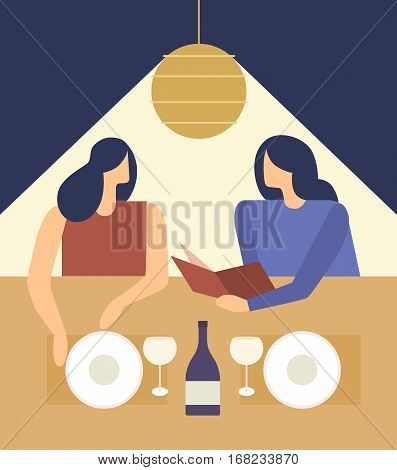 Cute girls choosing from a Restaurant Menu. Young women at a restaurant deciding what to order. Vector illustration.