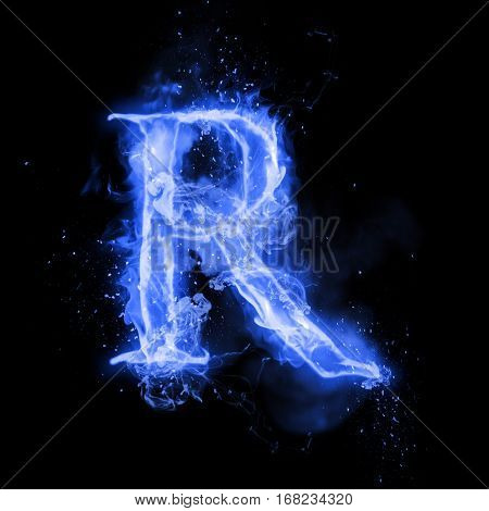Fire letter R of burning blue flame. Flaming burn font or bonfire alphabet text with sizzling smoke and fiery or blazing shining heat effect. Incandescent cold fire glow on black background