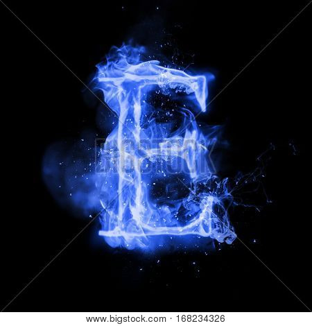 Fire letter E of burning blue flame. Flaming burn font or bonfire alphabet text with sizzling smoke and fiery or blazing shining heat effect. Incandescent cold fire glow on black background