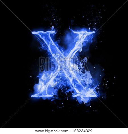 Fire letter X of burning blue flame. Flaming burn font or bonfire alphabet text with sizzling smoke and fiery or blazing shining heat effect. Incandescent cold fire glow on black background