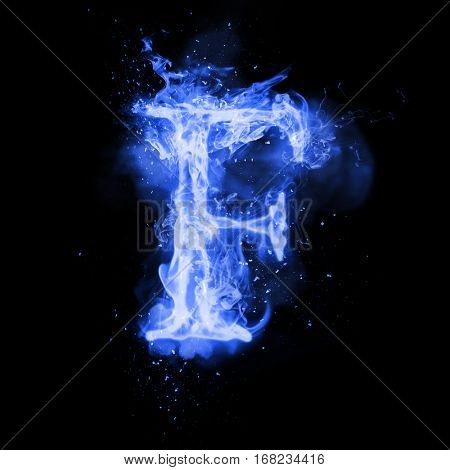 Fire letter F of burning blue flame. Flaming burn font or bonfire alphabet text with sizzling smoke and fiery or blazing shining heat effect. Incandescent cold fire glow on black background poster