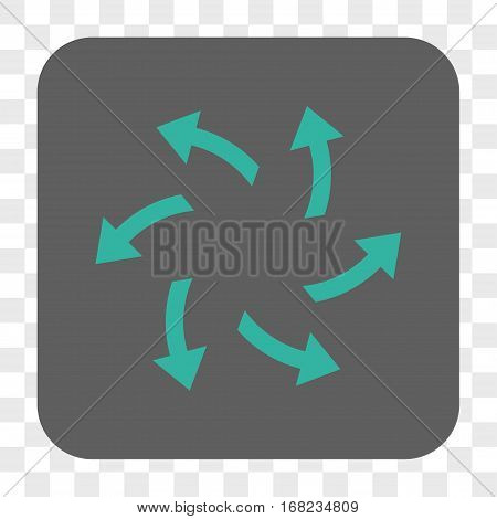 Centrifugal Arrows interface toolbar button. Vector icon style is a flat symbol inside a rounded square button cyan and gray colors chess transparent background.