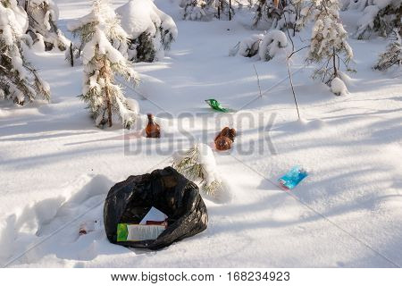 different garbage in the winter forest on snow