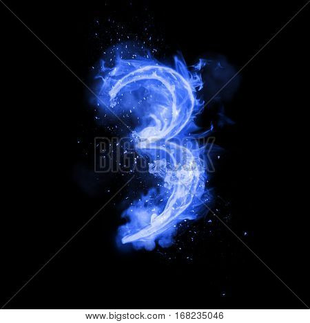 Fire number 3 three of burning blue flame. Flaming burn font or bonfire alphabet text with sizzling smoke and fiery or blazing shining heat effect. Incandescent cold fire glow on black background