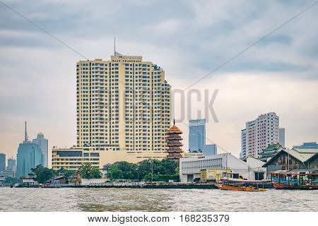 Bangkok, Thailand - January 9, 2016: Cityscape with Baan Chaopraya Condo. It is one of the modern residential building near the Chao Phraya River in Bangkok, Thailand.