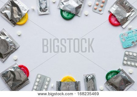 Contraceptives On A White Background. Frame Mockup