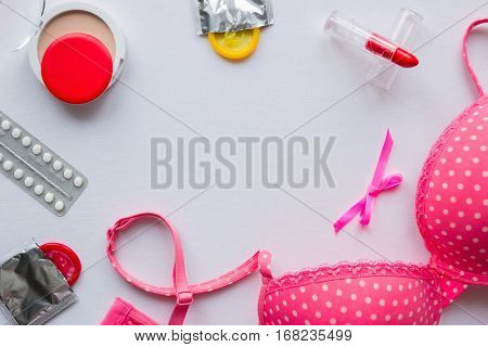 bra cosmetics and contraceptives mockup on white background