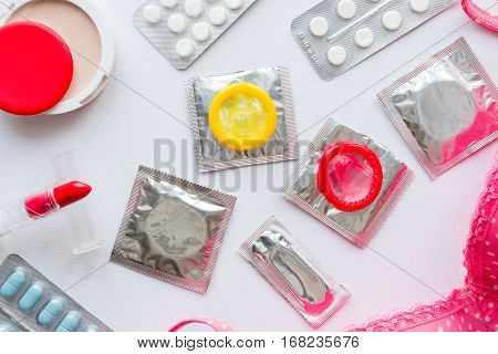 Different Contraception On A White Background Closeup