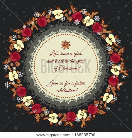 Christmas Card. Decorated With A Wreath Of Cinnamon Sticks, Star Anise, Ripe Apples And Snowflakes.