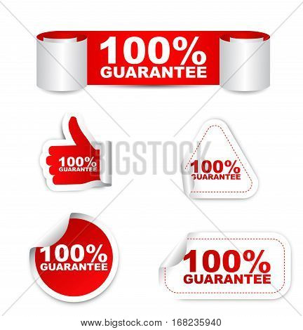 100% guarantee sticker 100% guarantee set stickers 100% guarantee red sticker 100% guarantee red vector sticker 100% guarantee design 100% guarantee sign guarantee banner guarantee