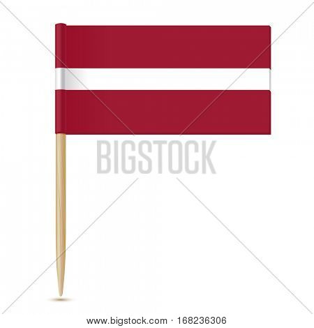 Flag of Latvia. Flag toothpick  isolated on white background 10eps