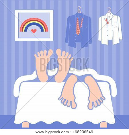 Gay couple sleeping in bed.Vector illustration of interior room