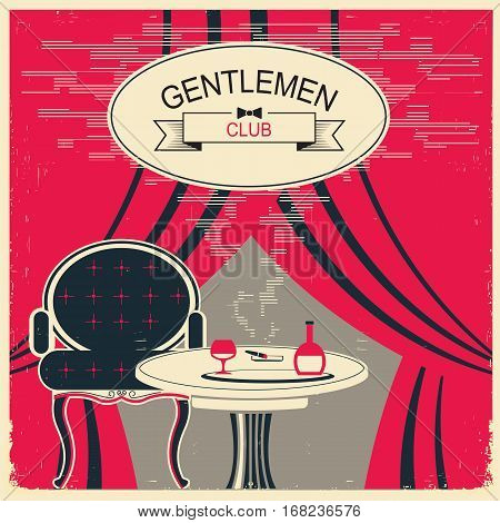 Gentlemen Club Illustration.vector Red Room With Table And Alcohol