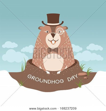 Happy Groundhog Day Illustration With Cute Marmot In Gentleman Hat