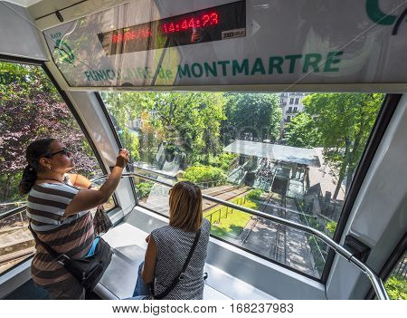Paris, France - June 2016: In the funicular of Montmartre