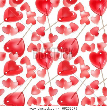 Seamless pattern for Valentine's Day with pink hearts candy and red lollipops on a white background. Background in pastel colors.