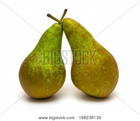 Ripe appetizing pears isolated on white background
