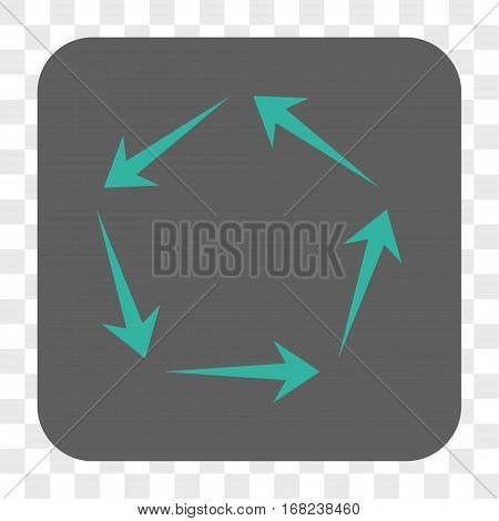 Circulation interface toolbar button. Vector icon style is a flat symbol on a rounded square button cyan and gray colors chess transparent background.