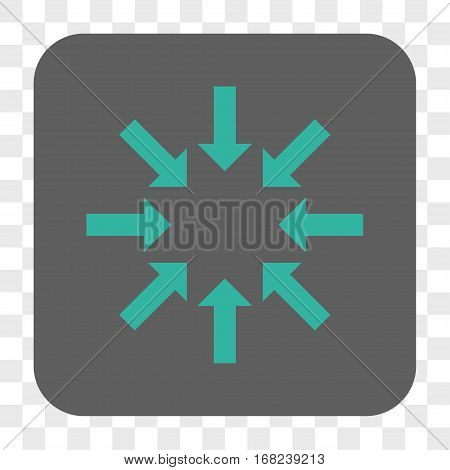 Collapse Arrows interface toolbar button. Vector icon style is a flat symbol in a rounded square button cyan and gray colors chess transparent background.