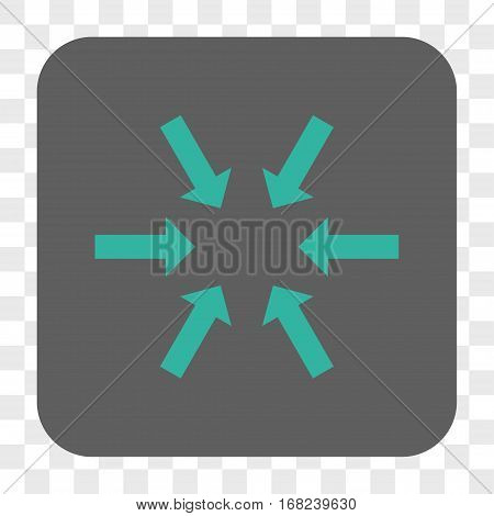 Compact Arrows interface toolbar button. Vector icon style is a flat symbol on a rounded square button cyan and gray colors chess transparent background.