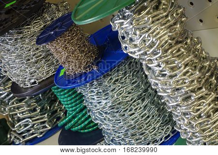 Links of chain store equipment objects tools