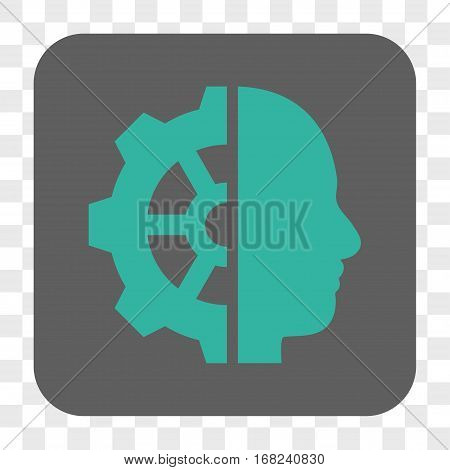 Cyborg Gear interface toolbar button. Vector icon style is a flat symbol in a rounded square button cyan and gray colors chess transparent background.
