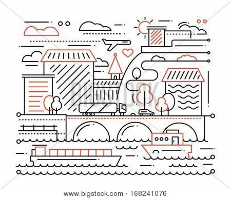 City life - vector modern simple line flat design city composition with cityscape