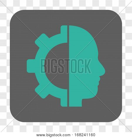 Cyborg Gear interface toolbar button. Vector icon style is a flat symbol inside a rounded square button cyan and gray colors chess transparent background.