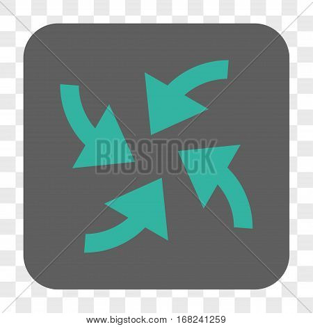 Cyclone Arrows interface toolbar button. Vector icon style is a flat symbol inside a rounded square button cyan and gray colors chess transparent background.