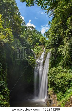 Beautiful  Aling Aling Waterfall, Bali island, Indonesia