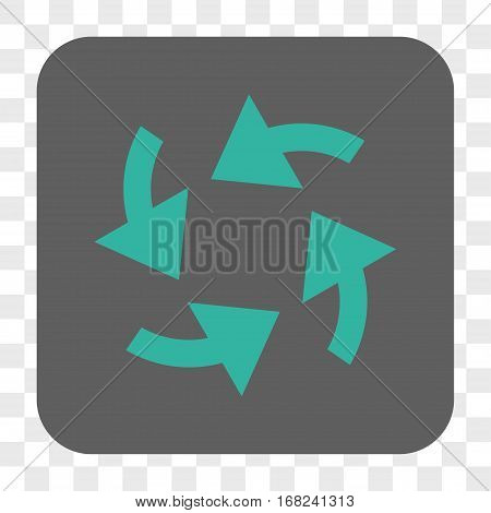 Cyclone Arrows interface toolbar button. Vector icon style is a flat symbol in a rounded square button cyan and gray colors chess transparent background.