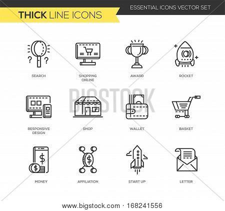 Business and shopping - set of modern vector plain line design icons and pictograms. Search, shopping online, award, rocket, responsive design, shop, wallet, basket, money, affiliation, start up letter