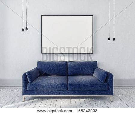 Blue couch in a monochrome grey room with large rectangular picture frame above and hanging light bulbs on either side, interior. 3d rendering