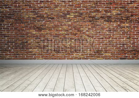 Loft interior shot of wooden floor painted white and wall of rough red bricks, copy space background. 3d Rendering.