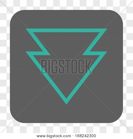 Direction Down interface toolbar button. Vector icon style is a flat symbol on a rounded square button cyan and gray colors chess transparent background.