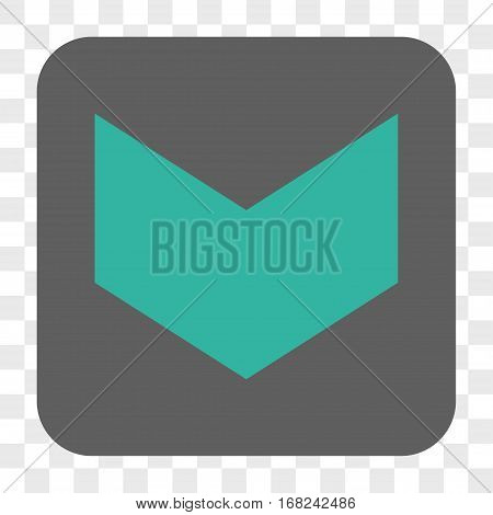 Direction Down interface toolbar button. Vector icon style is a flat symbol inside a rounded square button cyan and gray colors chess transparent background.