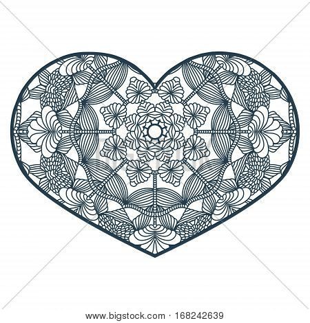 Vector Stencil Lacy Heart With Carved Openwork Pattern. Template