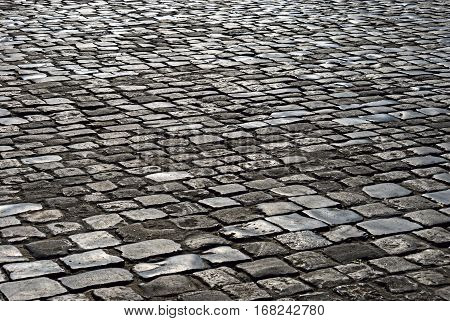 The area paved with rectangular stone. Texture