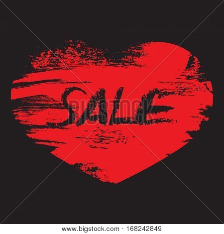 Hand Drawn With Brush Red Heart With Text Sale On Black Backgroy