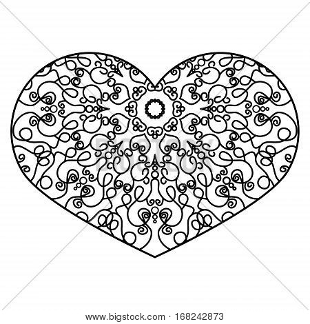 Ornamental Heart. Vintage Ornate Design Element For Valentine's