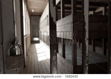 Locked Dark Room With Beds