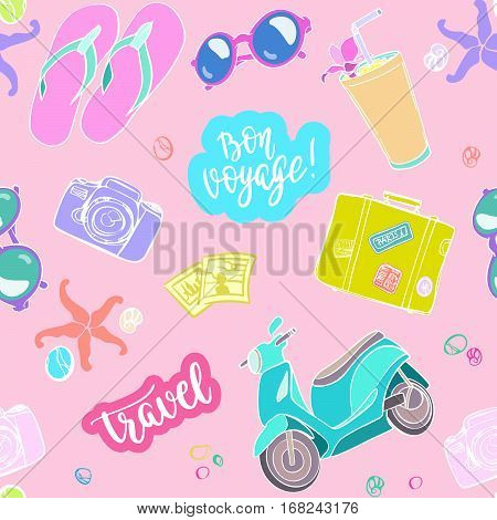 Vector background with stickers, pins, patches in cartoon comic style on light background.